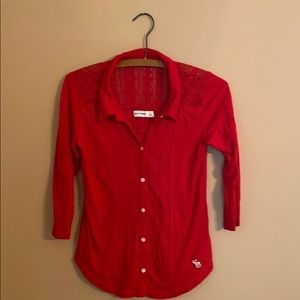 Abercrombie Kids Red Button Down Cotton Shirt